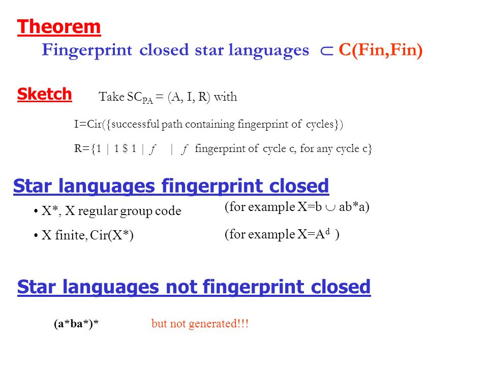 Fingerprint closed languages Definition For any cycle c, L contains the Fingerprints of c Fingerprint of a cycle c n c L power of the cycle, where the