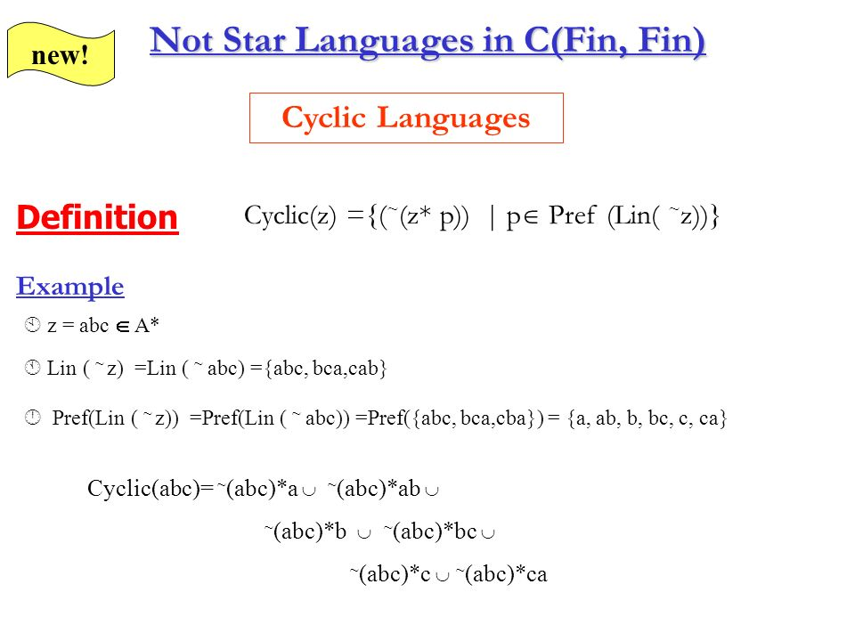 Fingerprint closed star languages C(Fin,Fin) Theorem I=Cir({successful path containing fingerprint of cycles}) R={1 | 1 $ 1 | ƒ | ƒ fingerprint of cycle c, for any cycle c} Star languages not fingerprint closed (a*ba*)* but not generated!!.