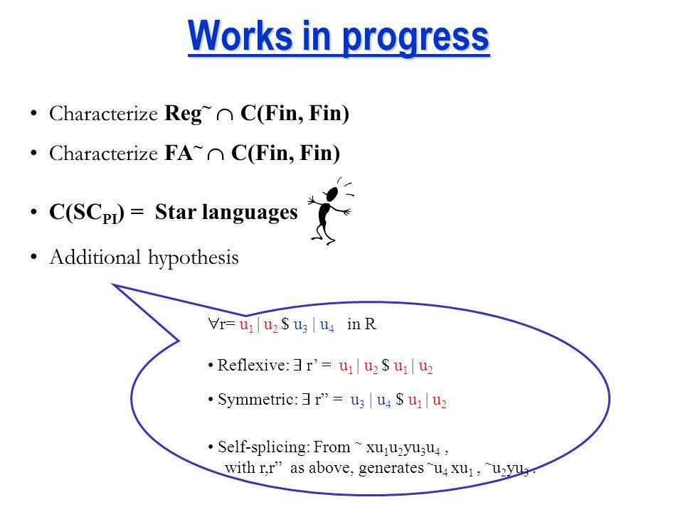 Other circular regular splicing languages ~ (abc)*a ~ (abc)*ab ~ (abc)*b ~ (abc)*bc ~ (abc)*c ~ (abc)*ca Cyclic(abc) ~ (abc)*ac weak cyclic languages