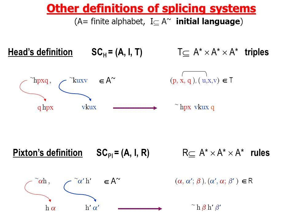Pauns definition Circular splicing systems (A= finite alphabet, I A ~ initial language) SC PA = (A, I, R) R A* | A* $ A* | A* rules ~hu1u2,~hu1u2, ~ku
