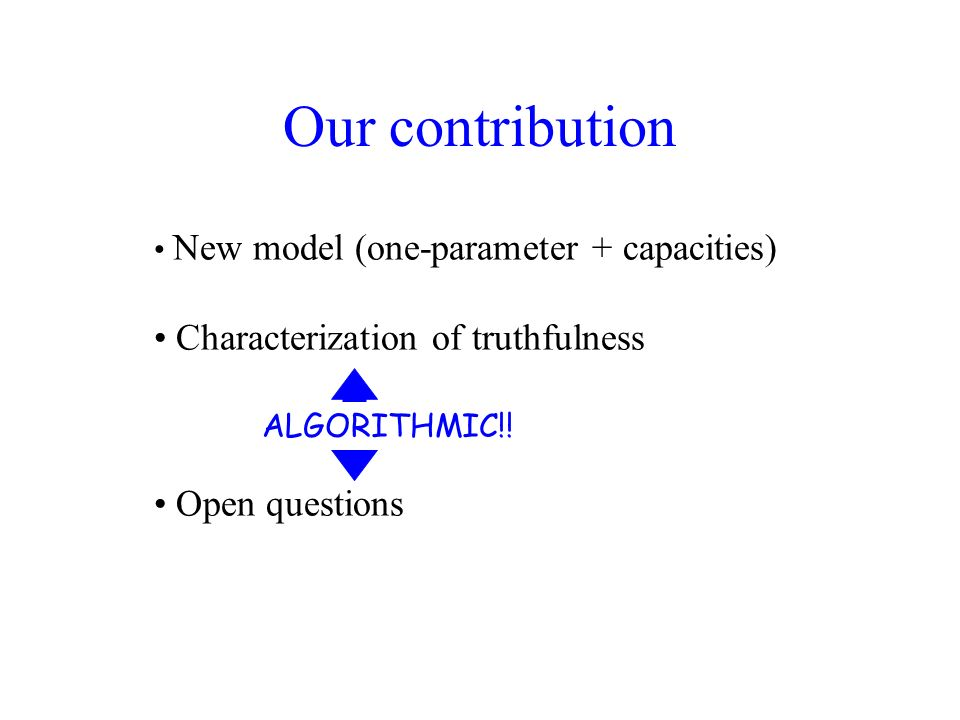 Our contribution New model (one-parameter + capacities) Characterization of truthfulness Few applications (optimal mechanisms) Open questions ALGORITHMIC!!