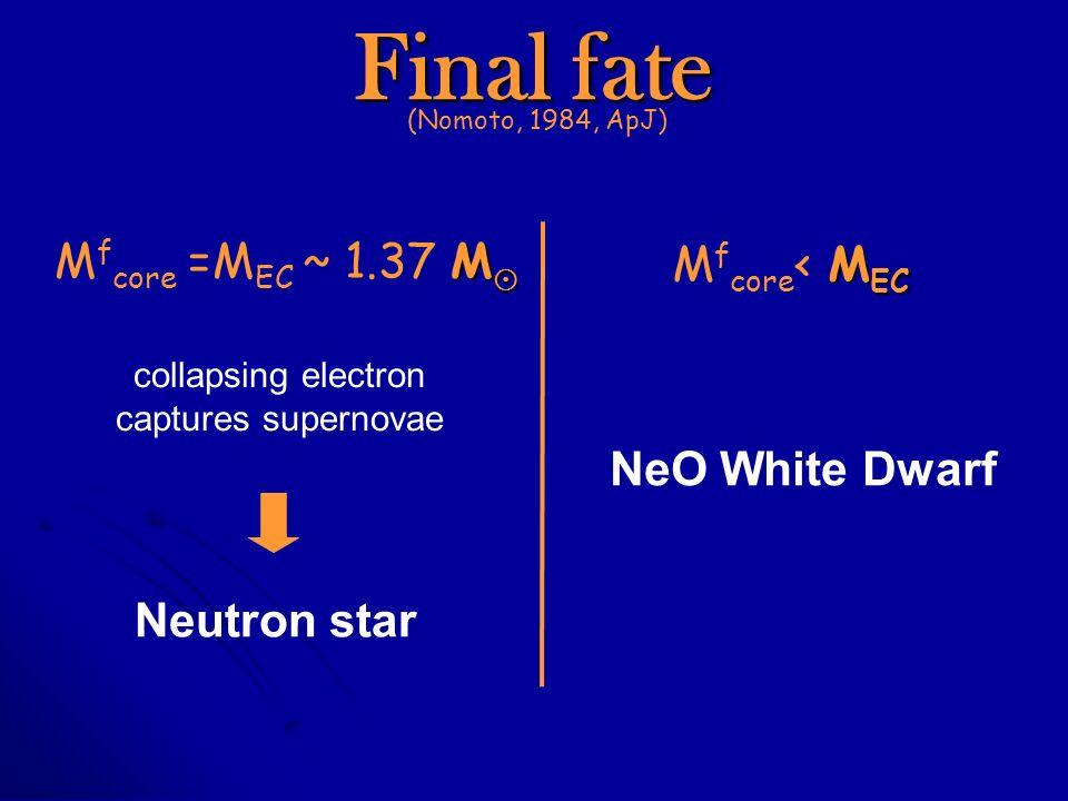 M M f core =M EC ~ 1.37 M M EC M f core < M EC collapsing electron captures supernovae Neutron star NeO White Dwarf Final fate (Nomoto, 1984, ApJ)