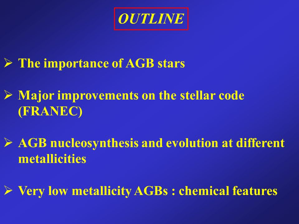 OUTLINE The importance of AGB stars Major improvements on the stellar code (FRANEC) AGB nucleosynthesis and evolution at different metallicities Very low metallicity AGBs : chemical features