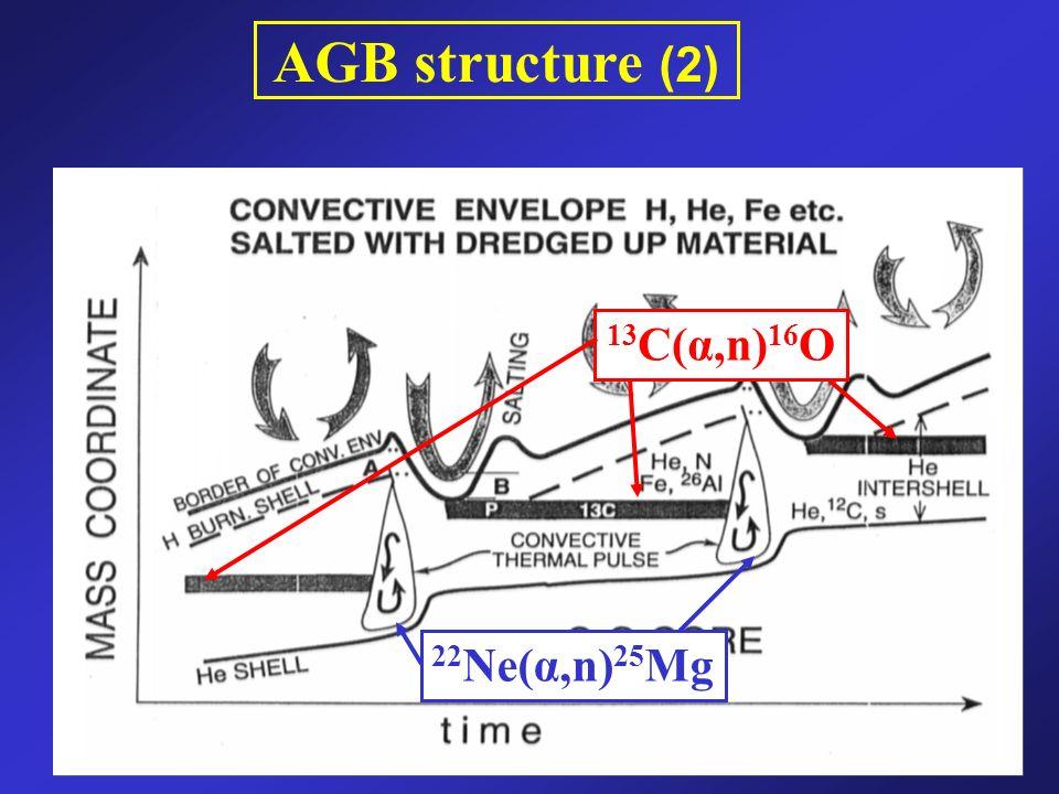 AGB structure (2) 22 Ne(α,n) 25 Mg 13 C(α,n) 16 O