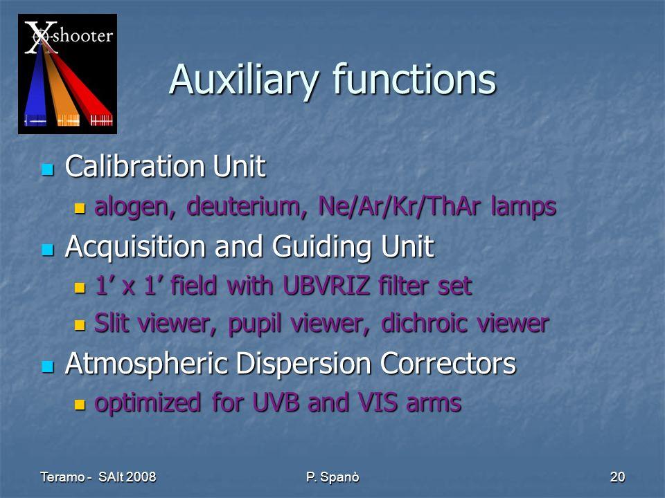 Teramo - SAIt 2008 P. Spanò 20 Auxiliary functions Calibration Unit Calibration Unit alogen, deuterium, Ne/Ar/Kr/ThAr lamps alogen, deuterium, Ne/Ar/K