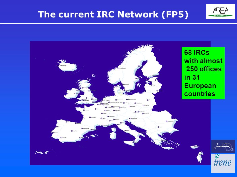68 IRCs with almost 250 offices in 31 European countries The current IRC Network (FP5)