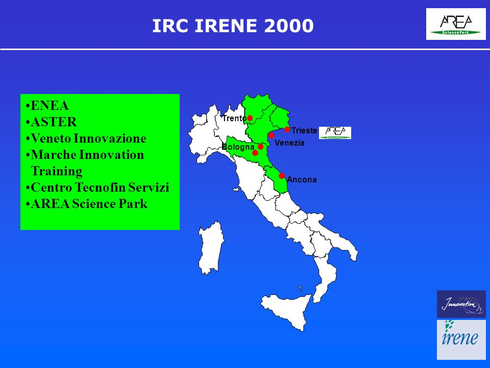 IRC IRENE 2000 Trieste Venezia Ancona Trento Bologna ENEA ASTER Veneto Innovazione Marche Innovation Training Centro Tecnofin Servizi AREA Science Park