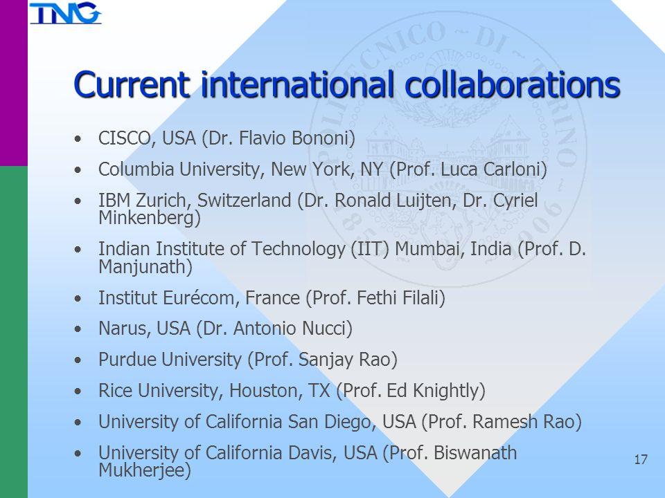 17 Current international collaborations CISCO, USA (Dr.