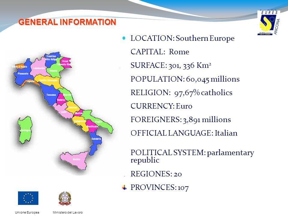 Ministero del LavoroUnione Europea LOCATION: Southern Europe CAPITAL: Rome SURFACE: 301, 336 Km 2 POPULATION: 60,045 millions RELIGION: 97,67% catholi