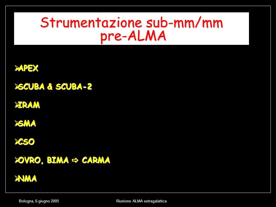 Bologna, 6 giugno 2005Riunione ALMA extragalattica Strumentazione sub-mm/mm pre-ALMA APEX APEX SCUBA & SCUBA-2 SCUBA & SCUBA-2 IRAM IRAM SMA SMA CSO CSO OVRO, BIMA CARMA OVRO, BIMA CARMA NMA NMA