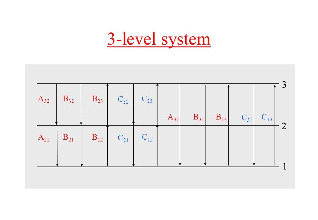 3-level system A 21 B 21 B 12 C 21 C 12 3 1 2 A 32 B 32 B 23 C 32 C 23 A 31 B 31 B 13 C 31 C 13