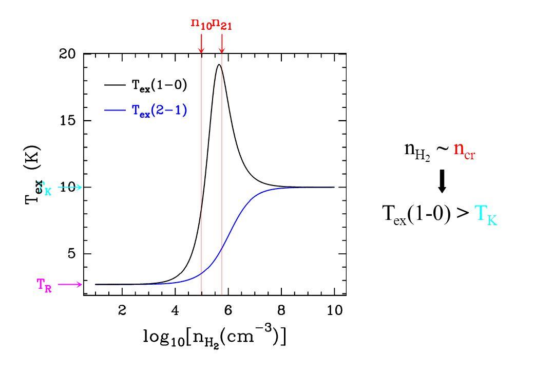 n H 2 ~ n cr T ex (1-0) > T K