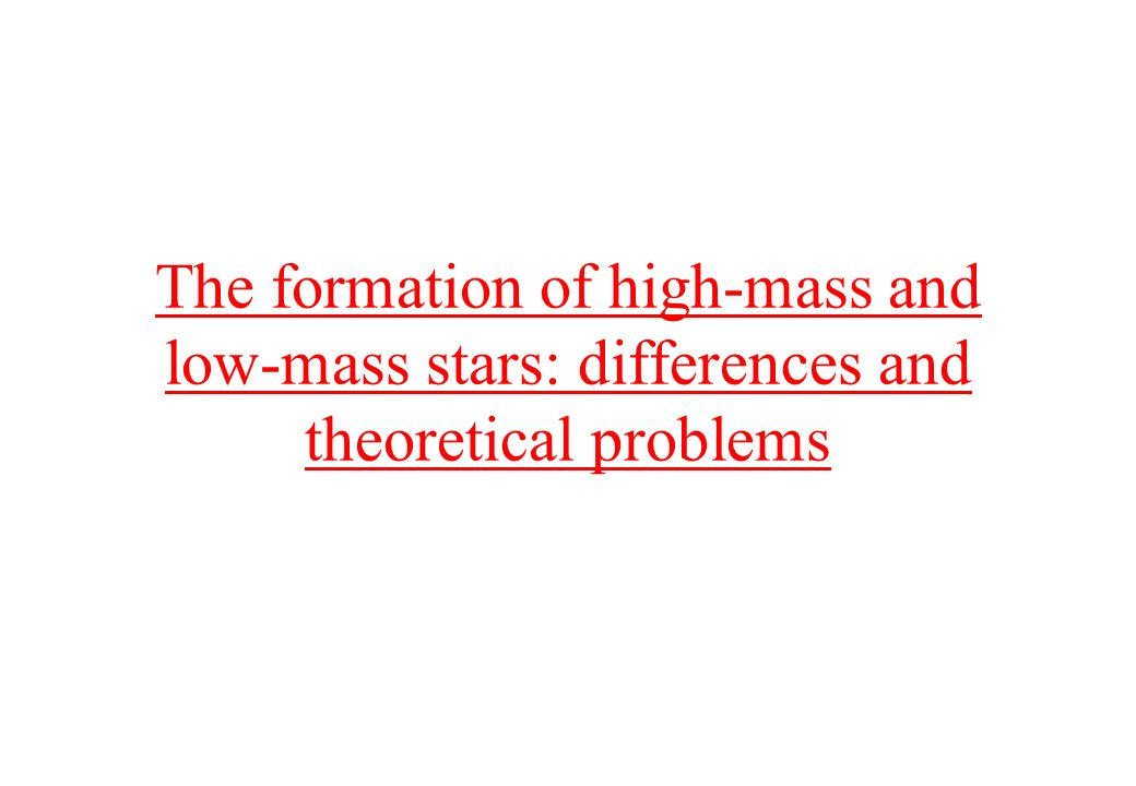 The formation of high-mass and low-mass stars: differences and theoretical problems