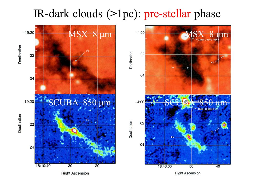 MSX 8 m SCUBA 850 m IR-dark clouds (>1pc): pre-stellar phase MSX 8 m SCUBA 850 m