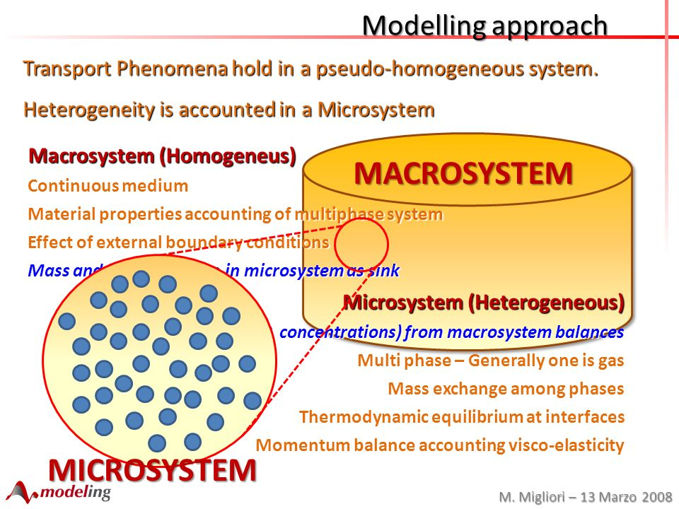 M. Migliori – 13 Marzo 2008 MACROSYSTEM Modelling approach Microsystem (Heterogeneous) Thermodynamic status (T, P, concentrations) from macrosystem ba