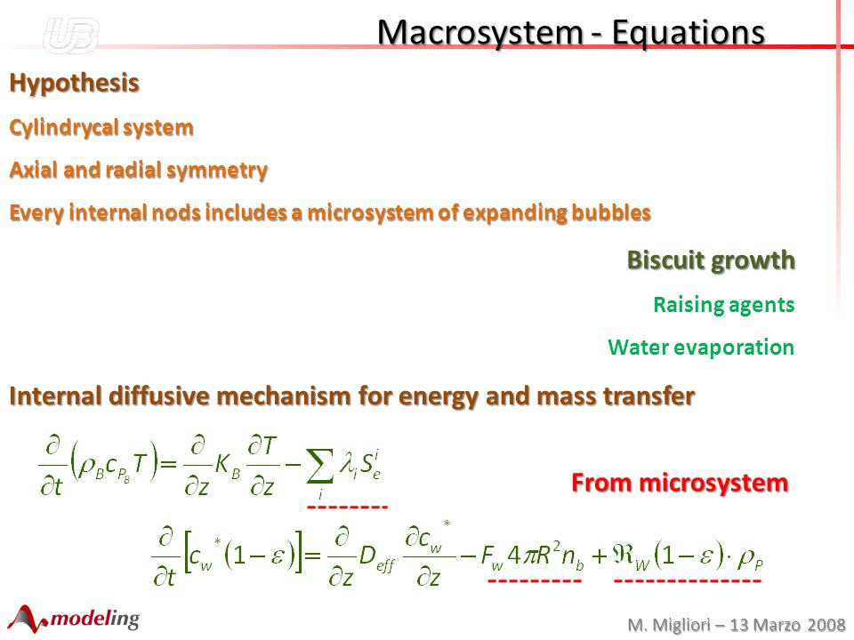 M. Migliori – 13 Marzo 2008 Macrosystem - Equations Macrosystem - Equations Hypothesis Cylindrycal system Axial and radial symmetry Every internal nod