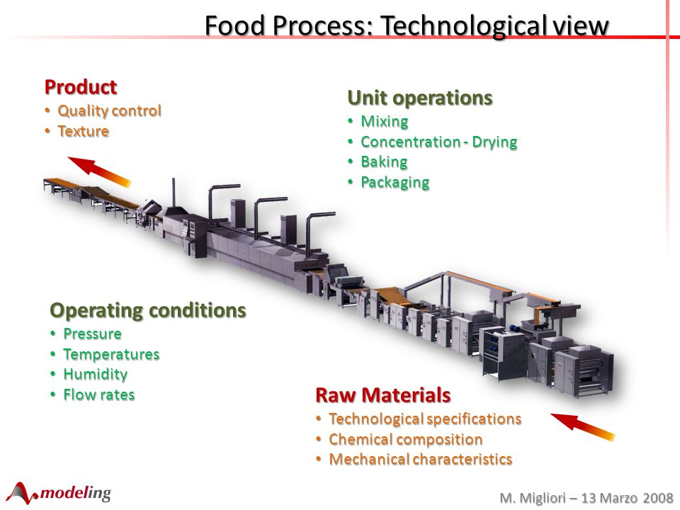 M. Migliori – 13 Marzo 2008 Food Process: Technological view Raw Materials Technological specifications Technological specifications Chemical composit