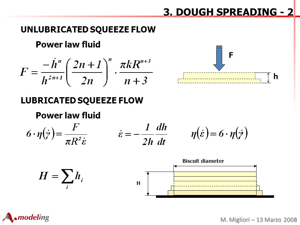 M. Migliori – 13 Marzo 2008 3. DOUGH SPREADING - 2 UNLUBRICATED SQUEEZE FLOW Power law fluid LUBRICATED SQUEEZE FLOW Power law fluid F h Biscuit diame