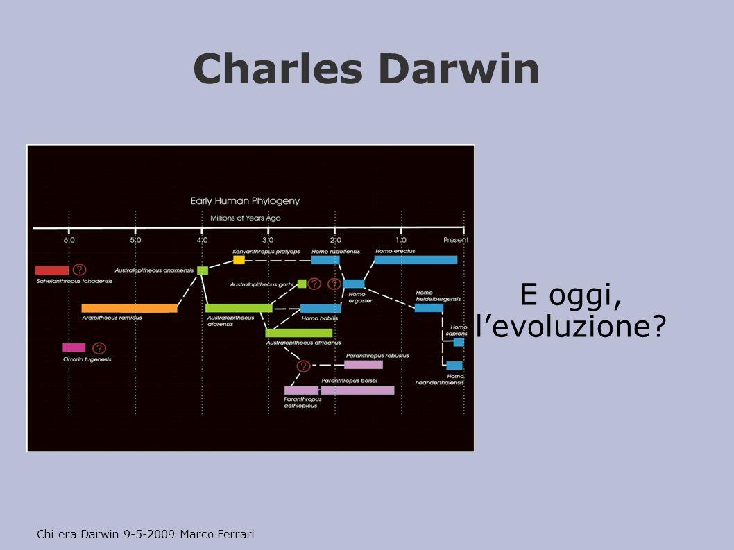 Charles Darwin E oggi, levoluzione? Chi era Darwin 9-5-2009 Marco Ferrari