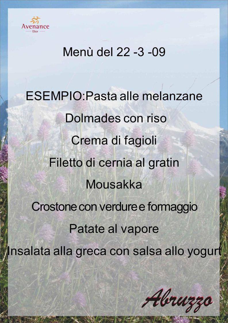 Menù del 22 -3 -09 ESEMPIO:Pasta alle melanzane Dolmades con riso Crema di fagioli Filetto di cernia al gratin Mousakka Crostone con verdure e formaggio Patate al vapore Insalata alla greca con salsa allo yogurt