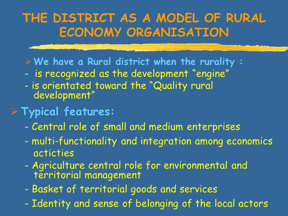 THE DISTRICT AS A MODEL OF RURAL ECONOMY ORGANISATION We have a Rural district when the rurality : - is recognized as the development engine - is orientated toward the Quality rural development Typical features: - Central role of small and medium enterprises - multi-functionality and integration among economics acticties - Agriculture central role for environmental and territorial management - Basket of territorial goods and services - Identity and sense of belonging of the local actors
