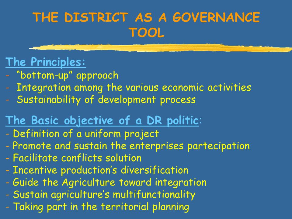 THE DISTRICT AS A GOVERNANCE TOOL The Basic objective of a DR politic: - Definition of a uniform project - Promote and sustain the enterprises partecipation - Facilitate conflicts solution - Incentive productions diversification - Guide the Agriculture toward integration - Sustain agricultures multifunctionality - Taking part in the territorial planning The Principles: -bottom-up approach -Integration among the various economic activities -Sustainability of development process