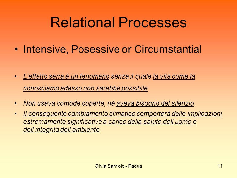 Silvia Samiolo - Padua11 Relational Processes Intensive, Posessive or Circumstantial Leffetto serra è un fenomeno senza il quale la vita come la conos