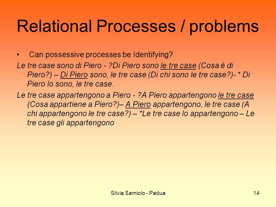 Silvia Samiolo - Padua14 Relational Processes / problems Can possessive processes be Identifying.