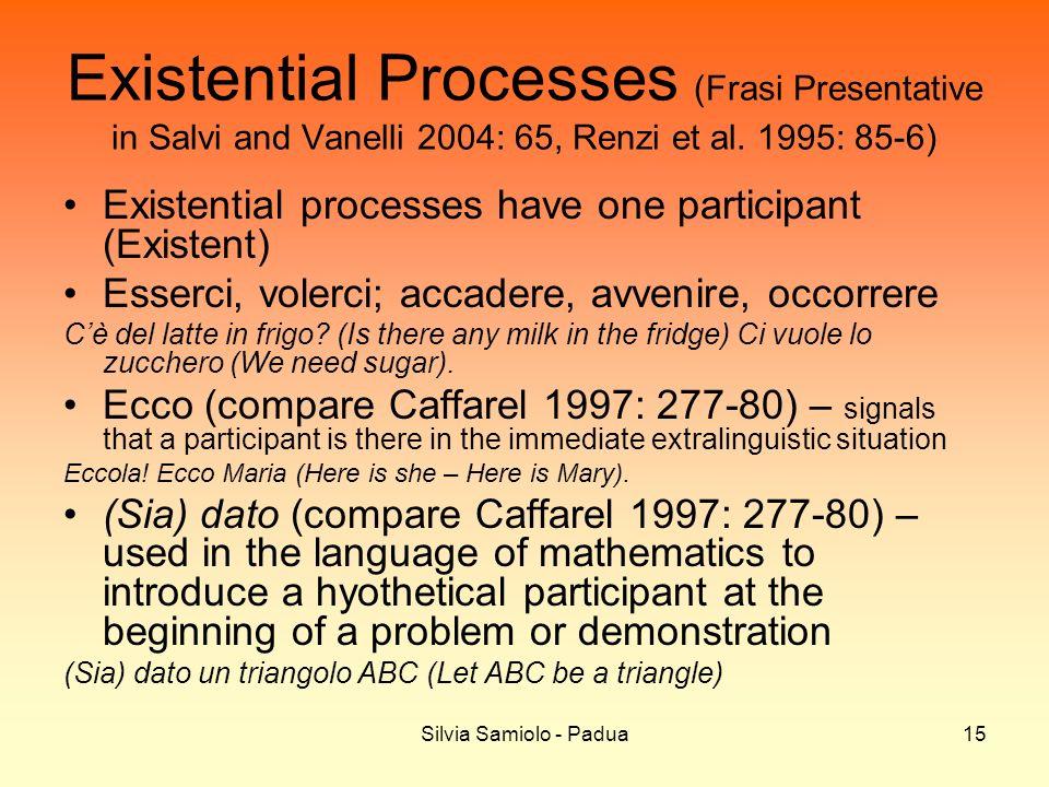 Silvia Samiolo - Padua15 Existential Processes (Frasi Presentative in Salvi and Vanelli 2004: 65, Renzi et al. 1995: 85-6) Existential processes have