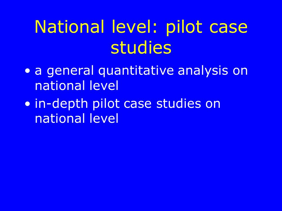 National level: pilot case studies a general quantitative analysis on national level in-depth pilot case studies on national level