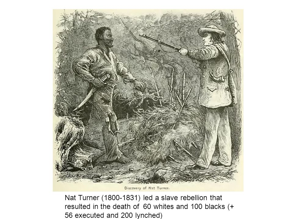 Nat Turner (1800-1831) led a slave rebellion that resulted in the death of 60 whites and 100 blacks (+ 56 executed and 200 lynched)