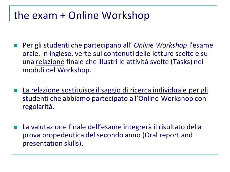 the exam + Online Workshop Per gli studenti che partecipano all Online Workshop l esame orale, in inglese, verte sui contenuti delle letture scelte e su una relazione finale che illustri le attività svolte (Tasks) nei moduli del Workshop.