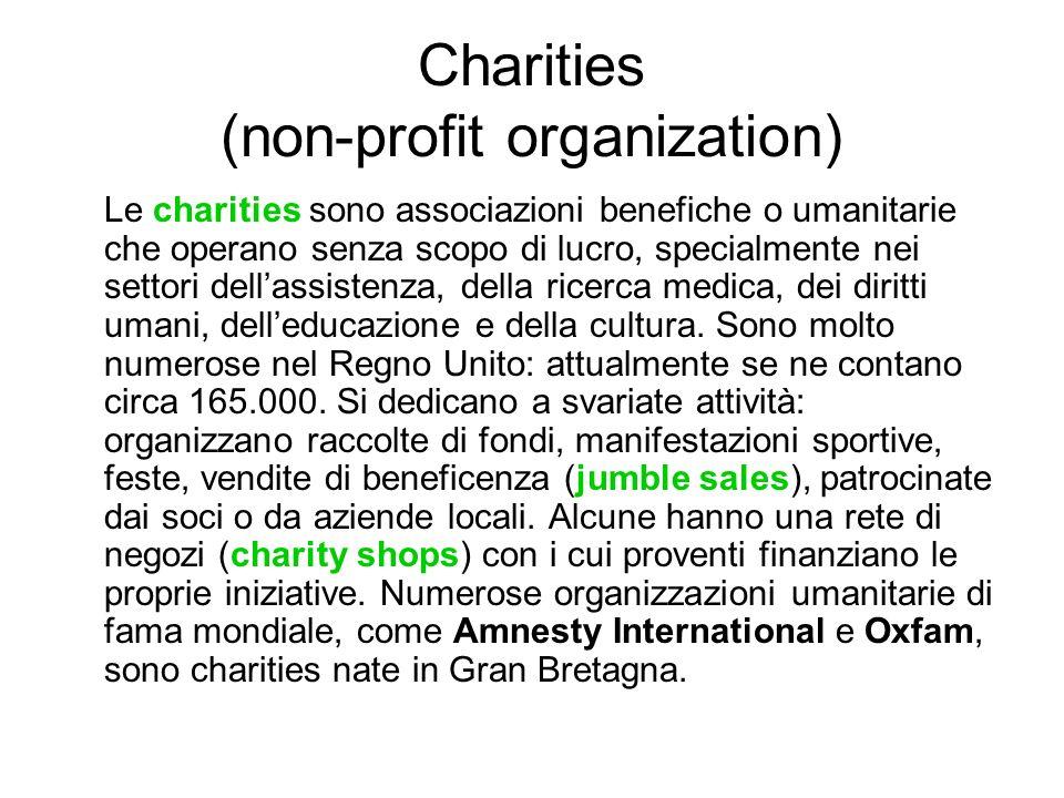 Charities (non-profit organization) Le charities sono associazioni benefiche o umanitarie che operano senza scopo di lucro, specialmente nei settori dellassistenza, della ricerca medica, dei diritti umani, delleducazione e della cultura.