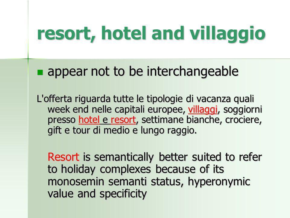 resort, hotel and villaggio appear not to be interchangeable appear not to be interchangeable L'offerta riguarda tutte le tipologie di vacanza quali w