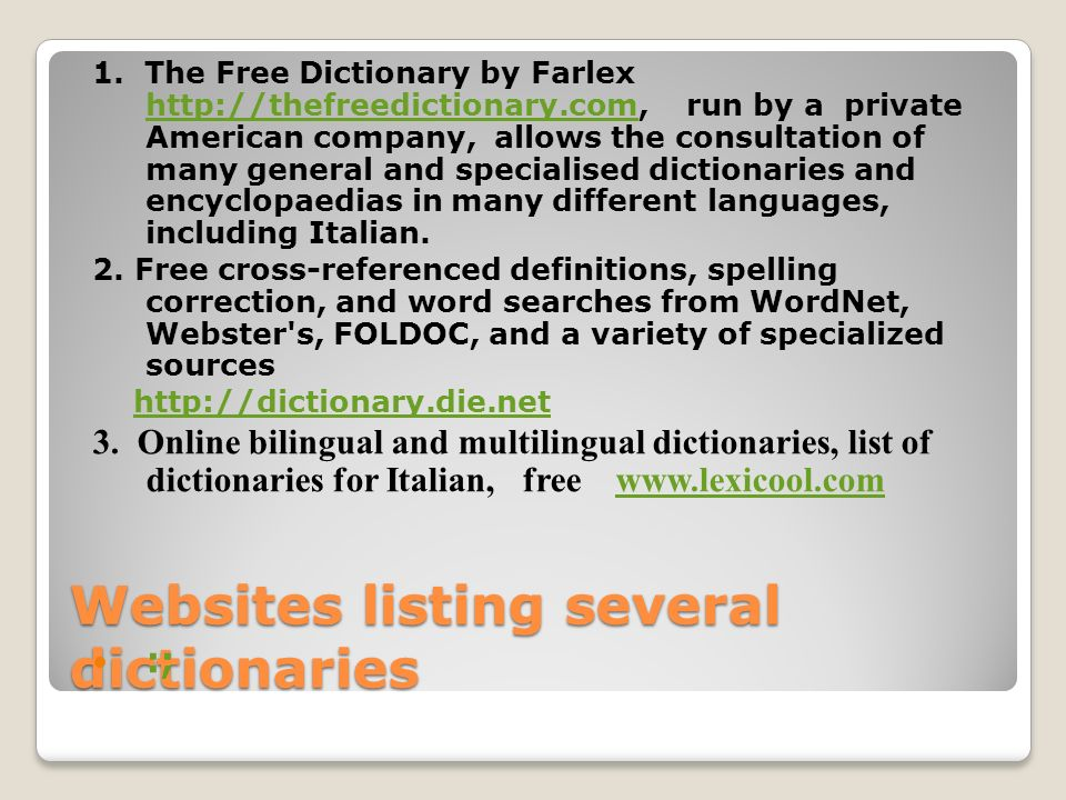 Websites listing several dictionaries 1.
