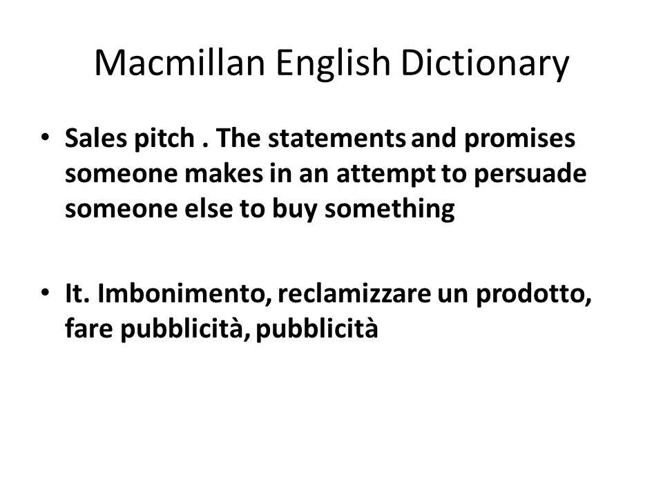 Macmillan English Dictionary Sales pitch.