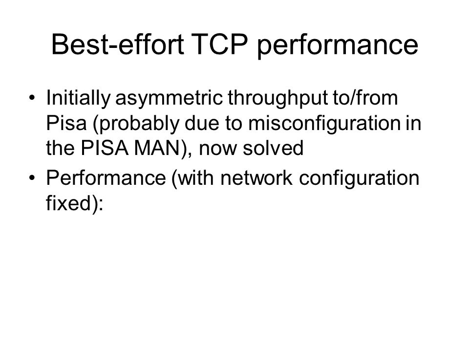 Best-effort TCP performance Initially asymmetric throughput to/from Pisa (probably due to misconfiguration in the PISA MAN), now solved Performance (w