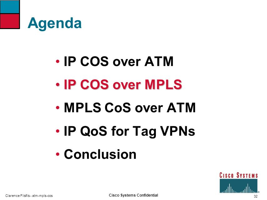32 Cisco Systems Confidential Clarence Filsfils - atm-mpls-cos Agenda IP COS over ATM IP COS over MPLSIP COS over MPLS MPLS CoS over ATM IP QoS for Ta