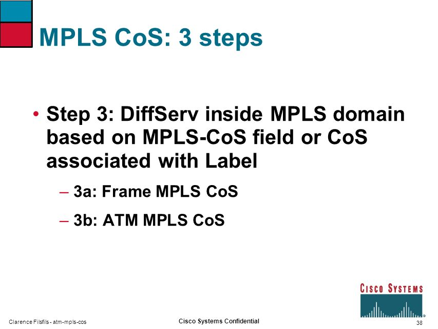 38 Cisco Systems Confidential Clarence Filsfils - atm-mpls-cos MPLS CoS: 3 steps Step 3: DiffServ inside MPLS domain based on MPLS-CoS field or CoS as