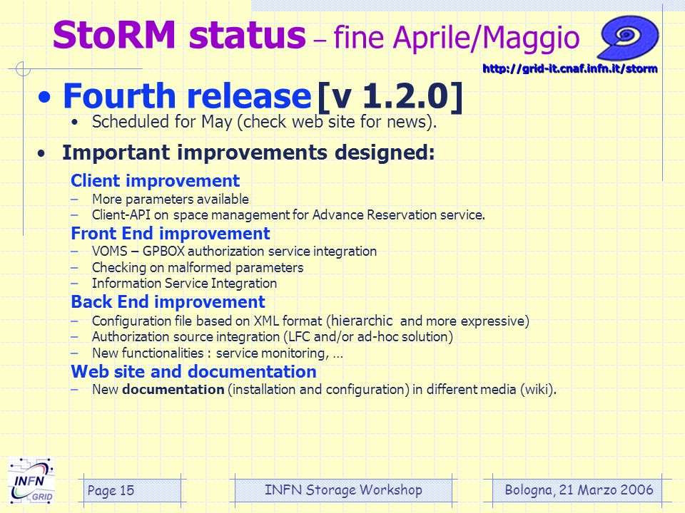 Bologna, 21 Marzo 2006 INFN Storage Workshop Page 15 StoRM status – fine Aprile/Maggio Fourth release [v 1.2.0] Scheduled for May (check web site for news).