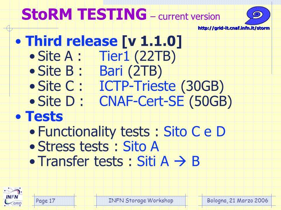Bologna, 21 Marzo 2006 INFN Storage Workshop Page 17 StoRM TESTING – current version Third release [v 1.1.0] Site A :Tier1 (22TB) Site B :Bari (2TB) Site C :ICTP-Trieste (30GB) Site D :CNAF-Cert-SE (50GB) Tests Functionality tests : Sito C e D Stress tests : Sito A Transfer tests : Siti A B