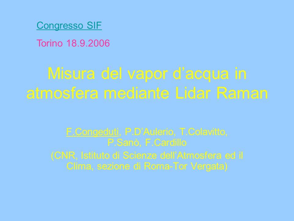 Misura del vapor dacqua in atmosfera mediante Lidar Raman F.Congeduti, P.DAulerio, T.Colavitto, P.Sanò, F.Cardillo (CNR, Istituto di Scienze dellAtmosfera ed il Clima, sezione di Roma-Tor Vergata) Congresso SIF Torino 18.9.2006