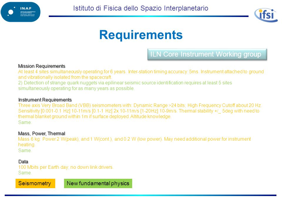Istituto di Fisica dello Spazio Interplanetario Requirements Mission Requirements At least 4 sites simultaneously operating for 6 years. Inter-station