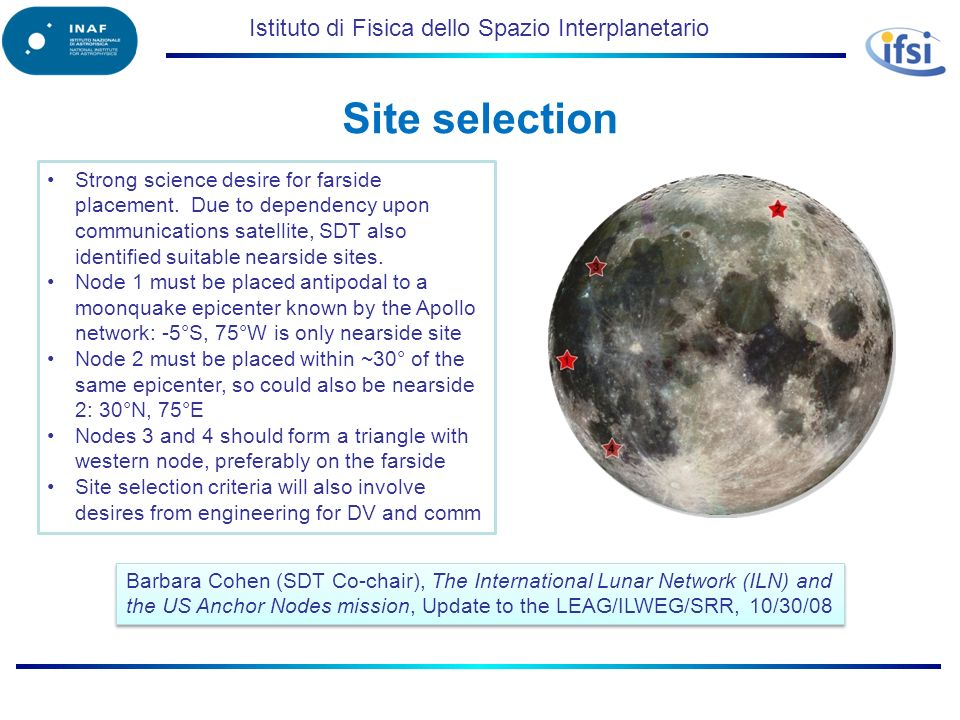 Istituto di Fisica dello Spazio Interplanetario Site selection Barbara Cohen (SDT Co-chair), The International Lunar Network (ILN) and the US Anchor N