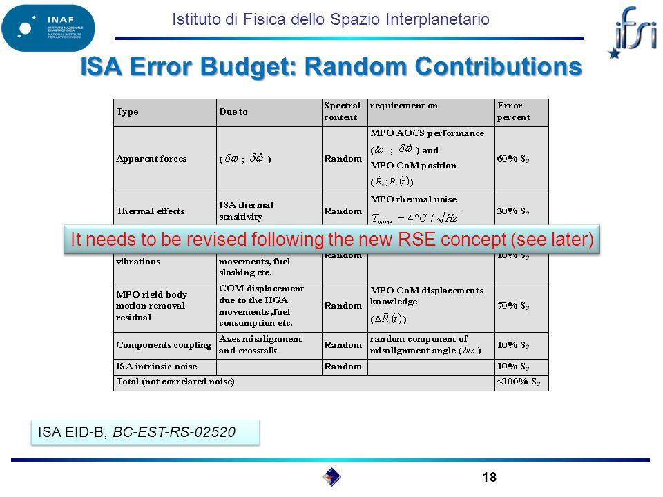 Istituto di Fisica dello Spazio Interplanetario ISA Error Budget: Random Contributions 18 ISA EID-B, BC-EST-RS-02520 It needs to be revised following the new RSE concept (see later) It needs to be revised following the new RSE concept (see later)