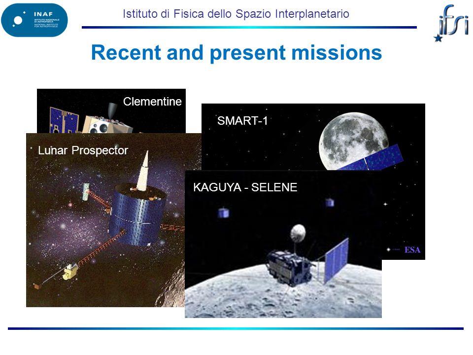 Istituto di Fisica dello Spazio Interplanetario Clementine Lunar Prospector Recent and present missions SMART-1KAGUYA - SELENE