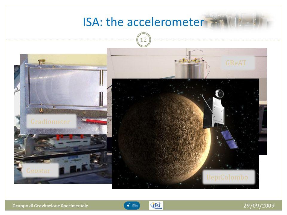 ISA: the accelerometer 29/09/2009 Gruppo di Gravitazione Sperimentale 12 Geostar Gradiometer GReAT BepiColombo