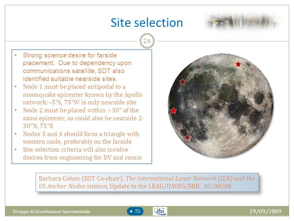 Site selection 29/09/2009 Gruppo di Gravitazione Sperimentale 24 Barbara Cohen (SDT Co-chair), The International Lunar Network (ILN) and the US Anchor