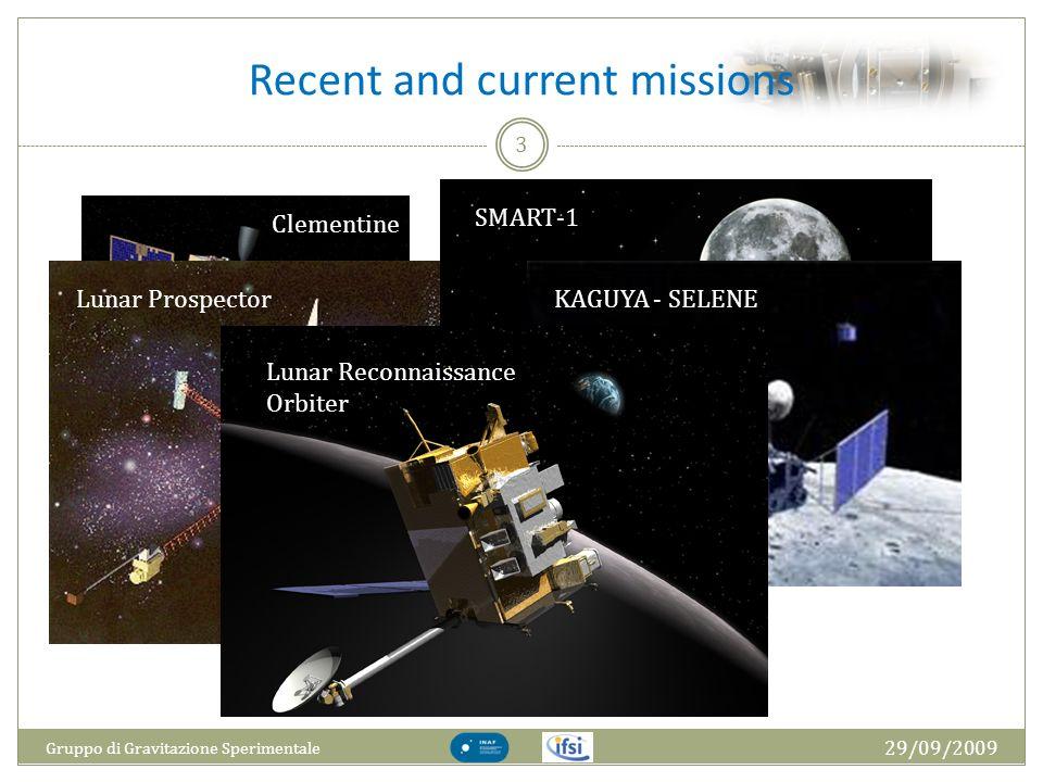 Recent and current missions 29/09/2009 Gruppo di Gravitazione Sperimentale 3 Clementine Lunar Prospector SMART-1KAGUYA - SELENE Lunar Reconnaissance O