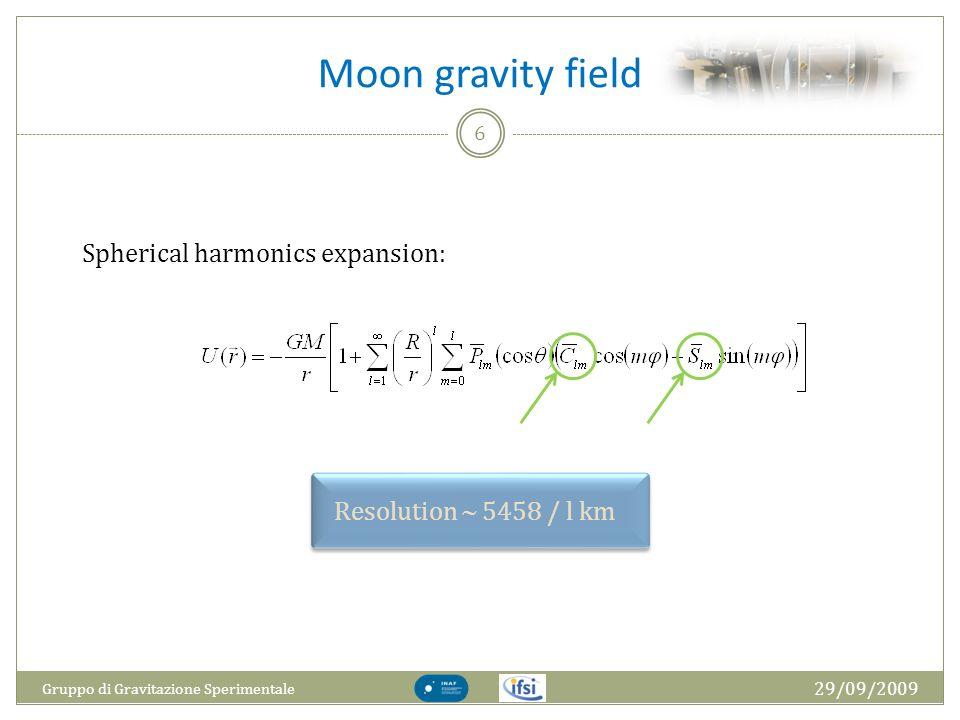 Moon gravity field 29/09/2009 Gruppo di Gravitazione Sperimentale 6 Spherical harmonics expansion: Resolution 5458 / l km